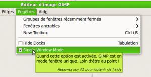 Gimp: Activer le mode fenêtre unique