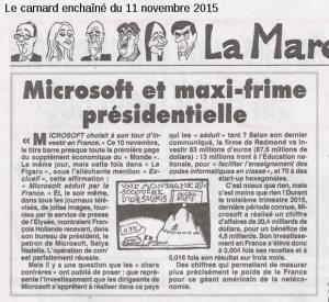 Microsoft, le 11 novembre dans le Canard Enchaîné