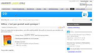 L'offre de la honte sur l'intranet Lyon2